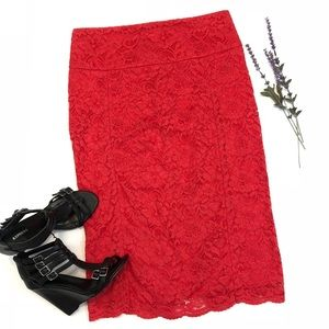 Express Red Lace Pencil Skirt
